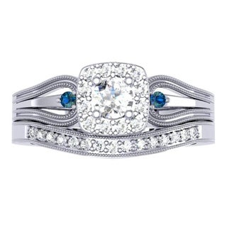 Elora 10k White Gold 1/2ct TDW Round White and Blue Diamond Halo Bridal Ring Set