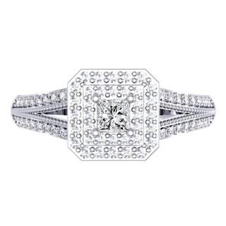 Elora 14k White Gold 1/2ct TDW Princess and Round-cut Diamond Split Shank Halo Engagement Ring (I-J ,I1-I2