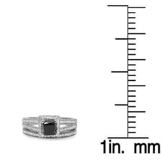 14k Gold 1 3/8ct TDW Black and White Diamond Split Shank Halo Bridal Ring Set (Black/H-I, I1-I2)