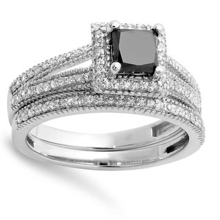 14k White Gold 1 3/8ct TDW Black and White Diamond Split Shank Halo Bridal Ring Set (H-I, I1-I2)