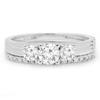 14k White Gold 1ct TDW Round-cut Diamond 3-stone Bridal Ring Set (H-I or J-K, I1-I2)