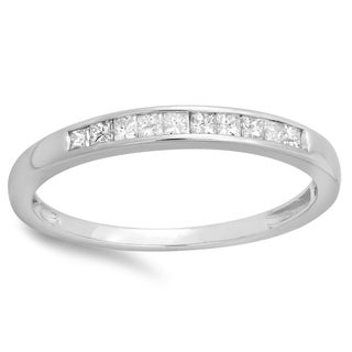 Elora 10k White Gold 1/5ct TDW Princess-cut Diamond Anniversary Wedding Stackable Band