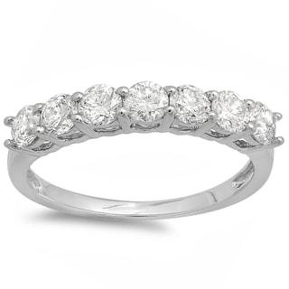 Elora 14k Gold 1ct TDW Round Diamond 7-stone Wedding Band (I-J, I1-I2)