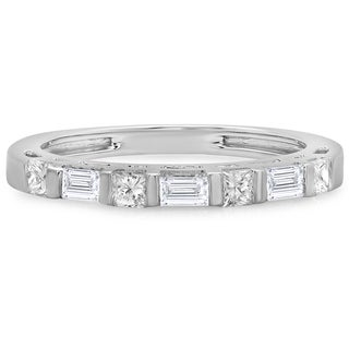 14k Gold 3/5ct TDW Princess and Baguette-cut Diamond Stackable Wedding Band