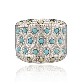 Sterling Silver Turquoise and Marcasite Ring (China)