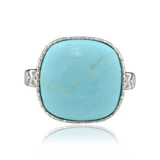 Sterling Silver Cushion Blue Turquoise Ring (China)