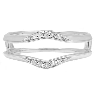 Elora 10k White Gold 1/10ct TDW Round Diamond Double Ring Wedding Band Guard (I-J, I2-I3)