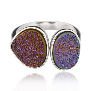 Sterling Silver Double Trillion Druzy Ring (China)