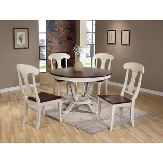 Baxton Studio Napoleon Chic Country Cottage Antique Oak Wood Distressed 5-Piece Dining Set with Pedestal Fixed Top Dining Table