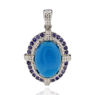 Sterling Silver Oval Blue Turquoise and Iolite Pendant