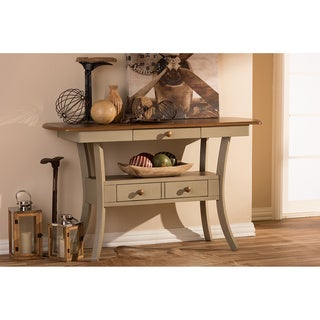 Baxton Studio Balmoral Chic Country Cottage Antique Oak Wood and Distressed Light Grey Fixed Top Server