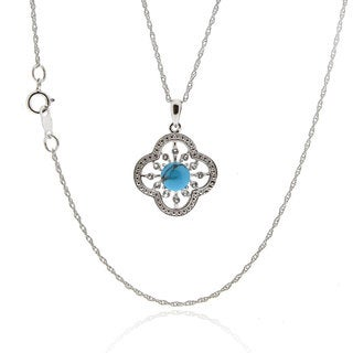 Sterling Silver Round Blue Turquoise/ White Topaz Necklace (China)