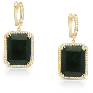 Dolce Giavonna Gold Over Sterling Silver or Sterling Silver Gemstone Rectangle Dangling Earrings