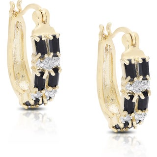 Dolce Giavonna Gold Over Sterling Silver Sapphire and Diamond Accent Saddleback Earrings