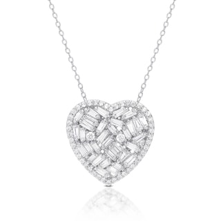 Dolce Giavonna Silver Overlay Cubic Zirconia Heart Necklace