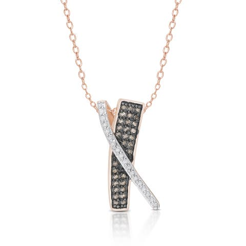 Finesque Gold Over Sterling Silver 1/3 ct TDW Black and White Diamonds Tricolor X Necklace