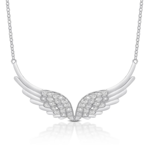 Finesque Sterling Silver or Gold Over Silver Diamond Accent Angel Wings Necklace