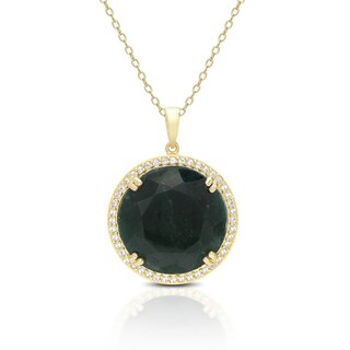Dolce Giavonna Gold Over Sterling Silver Gemstone Circle Necklace