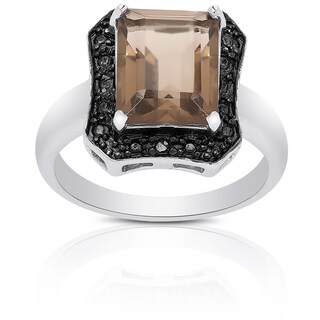 Dolce Giavonna Sterling Silver Smokey Quartz and Diamond Accent Square Ring