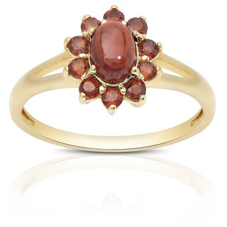 Dolce Giavonna Gold Over Sterling Silver Garnet Flower Ring (4 options available)