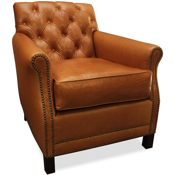 Pasadena Tufted Italian Leather Chair Free Shipping