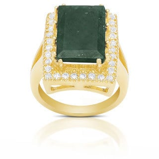 Dolce Giavonna Sterling Silver Lab Created Emerald-cut Gemstone Ring