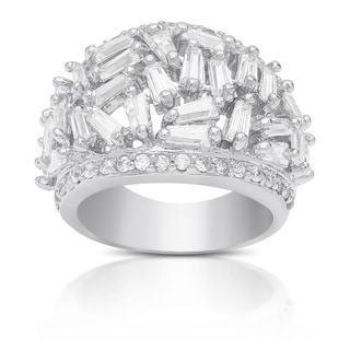 Dolce Giavonna Silver Overlay Cubic Zirconia Cluster Ring