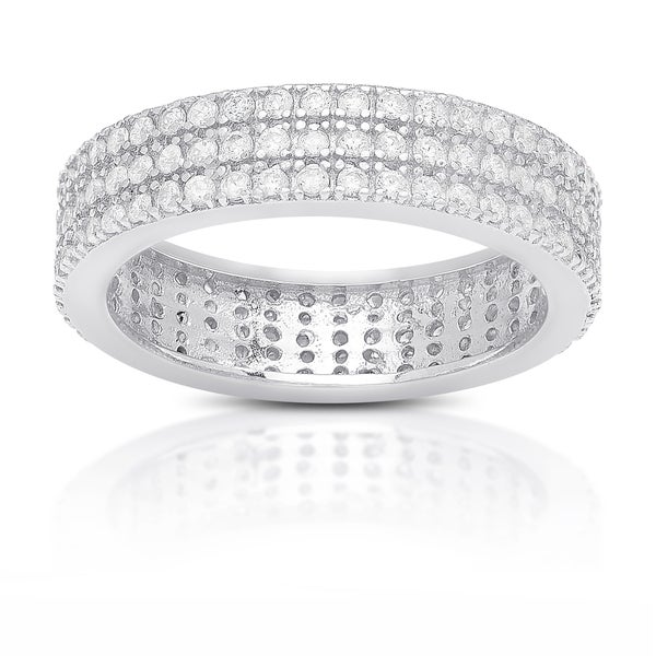 Samantha Stone Sterling Silver Cubic Zirconia Eternity Band Ring