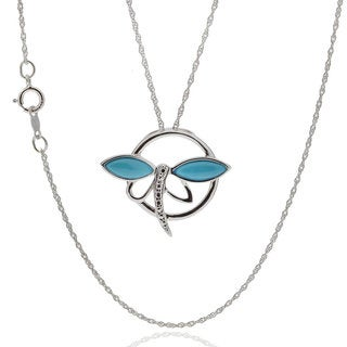 Sterling Silver Turquoise Dragonfly Pendant Necklace