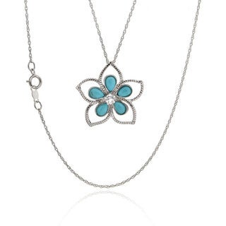 Sterling Silver Pear Turquoise Floral Pendant Necklace (China)