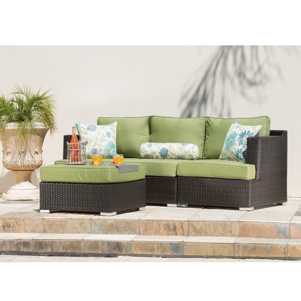 Nice Corvus Sorrento 4 Piece Brown Wicker Patio Furniture Set With Sunbrella  Cushions