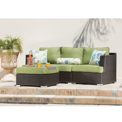 Corvus Sorrento 4-piece Brown Wicker Patio Furniture Set with Sunbrella Cushions