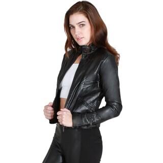 Nikibiki Women's Leather Cropped Biker Jacket