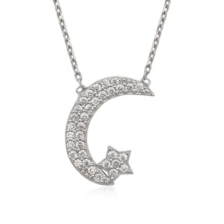 La Preciosa Sterling Silver Cubic Zirconia Moon and Star Necklace