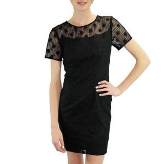 Relished Women's Black Daisies Windowpane Dress