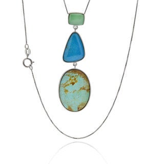 Sterling Silver American Turquoise Pendant with Chain