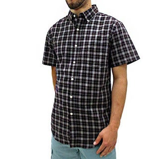 Narragansett Traders Men's Purple Short Sleeve Plaid Button Down ...