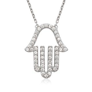 La Preciosa Sterling Silver Cubic Zirconia Hamsa Hand Necklace