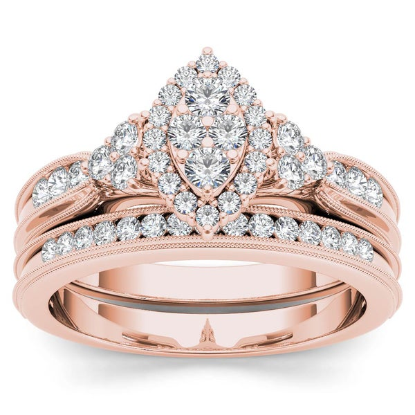 De Couer 10k Rose Gold 1/2ct TDW Diamond Marquise-Framed Halo Engagement Ring Set - White