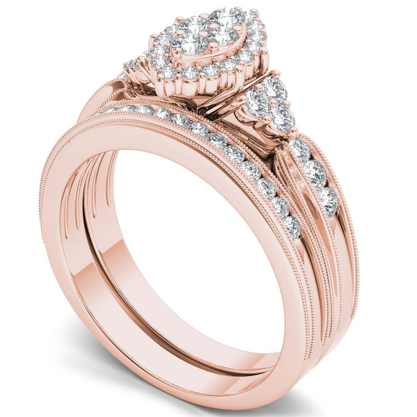 De Couer 10k Rose Gold 1 2ct Tdw Diamond Marquise Framed Halo Engagement Ring Set Free Shipping Today 17449132