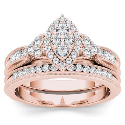 De Couer IGI Certified 10k Rose Gold 1/2ct TDW Diamond Marquise-Framed Halo Engagement Ring Set