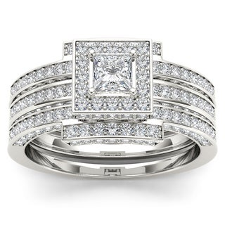 De Couer 14k White Gold 1 1/2ct TDW Diamond Halo Engagement Ring Set (H-I, I2)