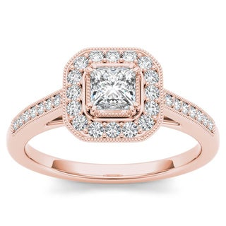 De Couer 14k Rose Gold 1/2ct TDW Diamond Vintage Halo Engagement Ring (H-I, I2)