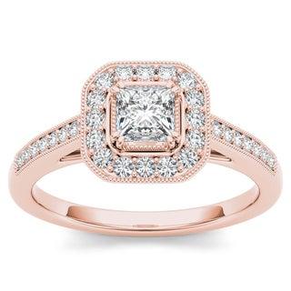 De Couer 14k Rose Gold 1/2ct TDW Diamond Vintage Halo Engagement Ring