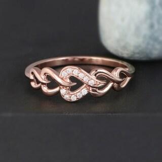 De Couer 10k Rose Gold 1/20ct TDW Diamond Fashion Ring - Pink