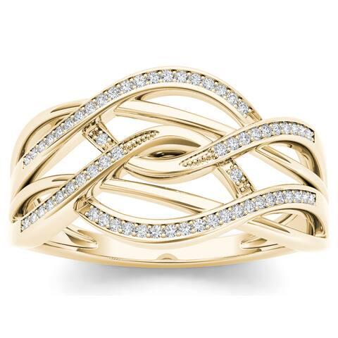 De Couer IGI Certified 10k Yellow Gold 1/6ct TDW Diamond Swirling Fashion Ring - White