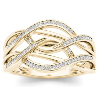 De Couer 10k Yellow Gold 1/6ct TDW Diamond Swirling Fashion Ring - White|https://ak1.ostkcdn.com/images/products/10339634/P17449137.jpg?impolicy=medium