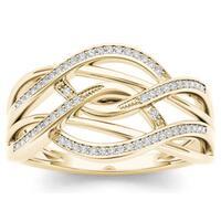 De Couer 10k Yellow Gold 1/6ct TDW Diamond Swirling Fashion Ring - White