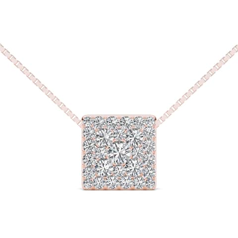 De Couer IGI Certified 10k Rose Gold 1/2ct TDW Diamond Square Pendant - Pink