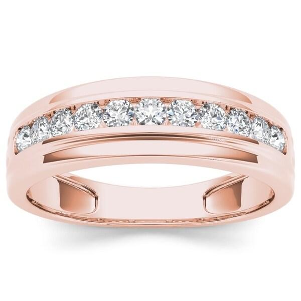 De Couer 10k Rose Gold 1/2ct TDW Diamond Men's Wedding Band - Pink